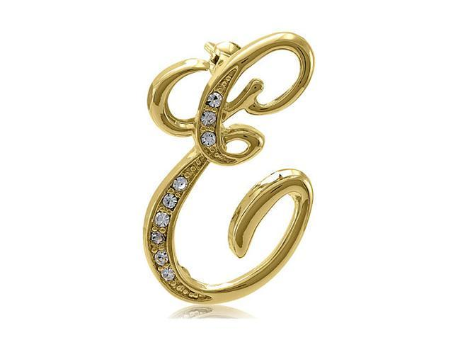 Gold Tone Initial Letter Brooch Pin - E
