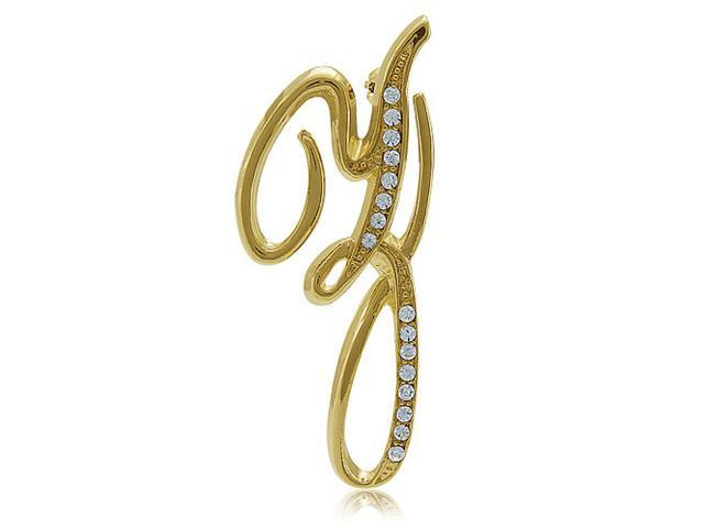Gold Tone Initial Letter Brooch Pin - Z