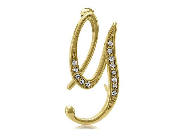 Gold Tone Initial Letter Brooch Pin - G