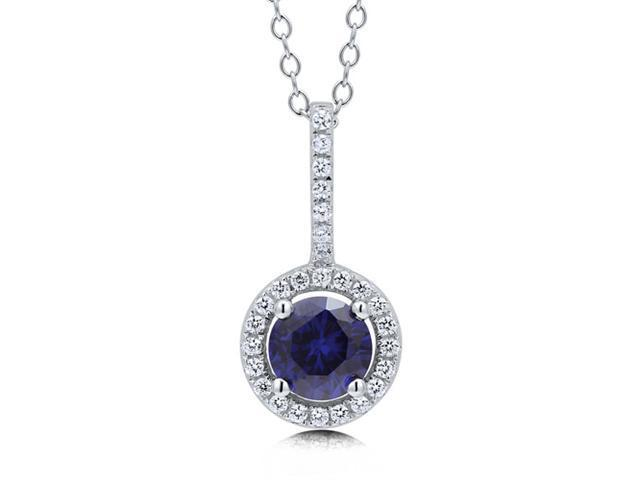 Sapphire Cubic Zirconia CZ 925 Sterling Silver Halo Pendant Necklace