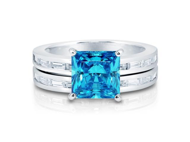 Princess Blue Topaz CZ 925 Sterling Silver 2Pc Bridal Ring Set 3.01 ct Women's Jewelry