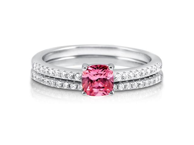 Cushion Pink Cubic Zirconia Sterling Silver 2Pc Bridal Ring Set .46 ct Women's Jewelry