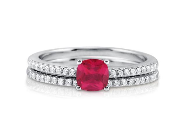 Cushion Red Cubic Zirconia Sterling Silver 2Pc Bridal Ring Set 0.46 ct Women's Jewelry