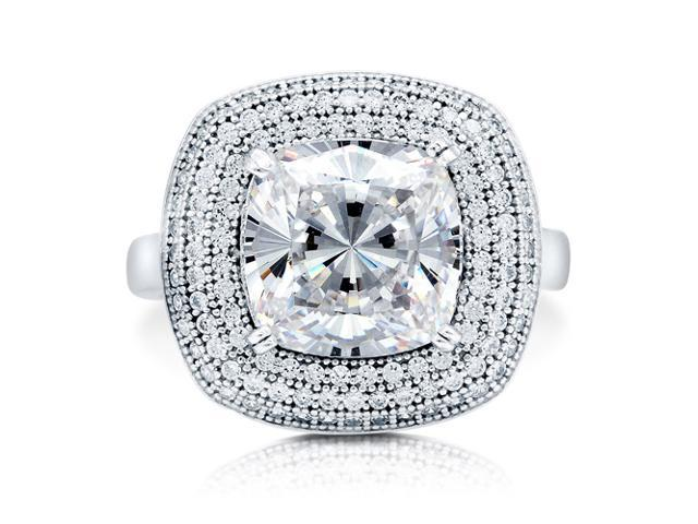 Cushion Cut Cubic Zirconia Sterling Silver Halo Cocktail Ring 3.87 ct Women's Jewelry