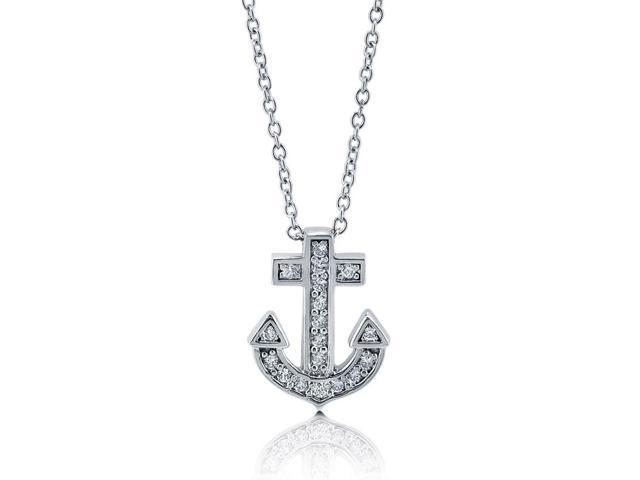Cubic Zirconia CZ 925 Sterling Silver Petite Anchor Pendant Necklace