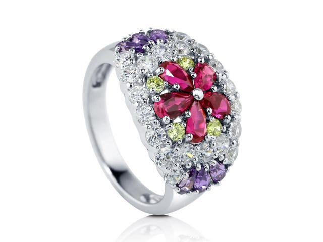 925 Silver Multicolor CZ Flower Dome Right Hand Ring women's Jewelry
