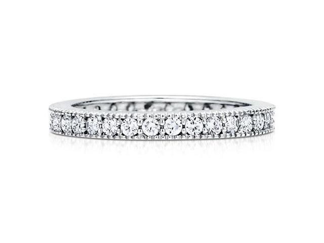 Sterling Silver 925 Pave Set Cubic Zirconia Stackable Eternity Ring Women's Jewelry
