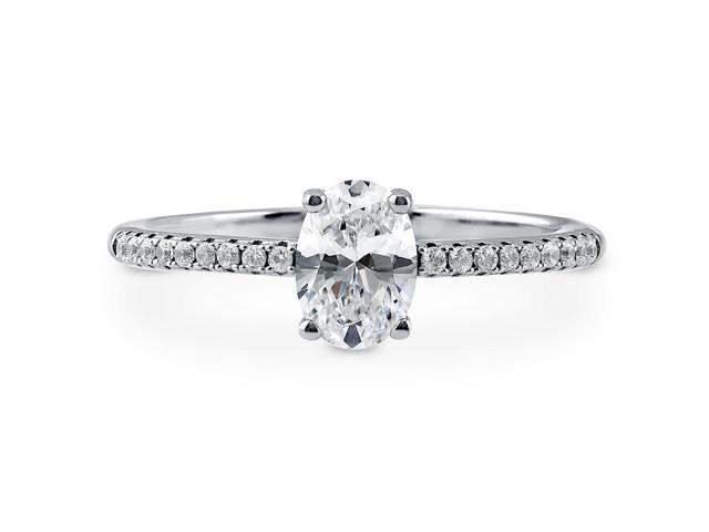 Oval Cut Cubic Zirconia CZ 925 Sterling Silver Solitaire Ring 0.85 ctw Women's Jewelry