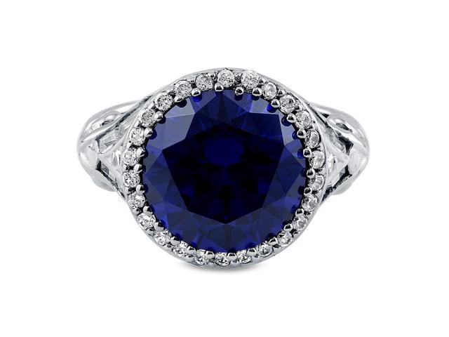 Sterling Silver 925 Round Tanzanite Cubic Zirconia CZ Cocktail Ring Women's Jewelry