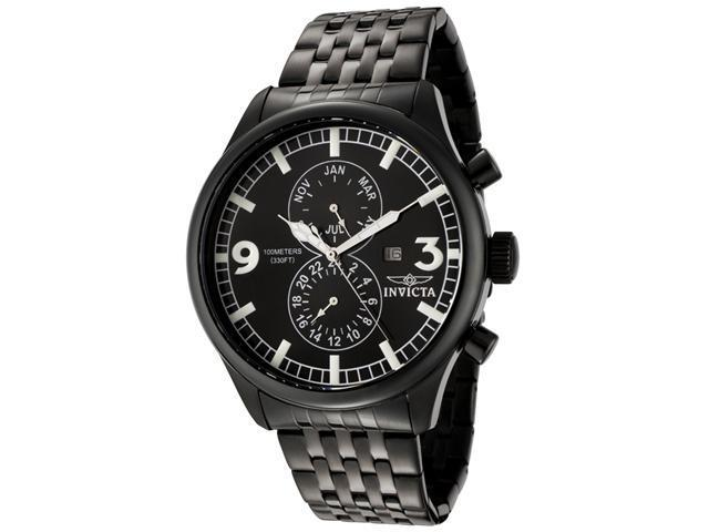 Men's Invicta II Black Dial Black Ion Plated Stainless Steel Watch