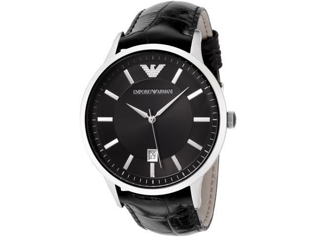 Emporio Armani Men's Black Dial Black Leather