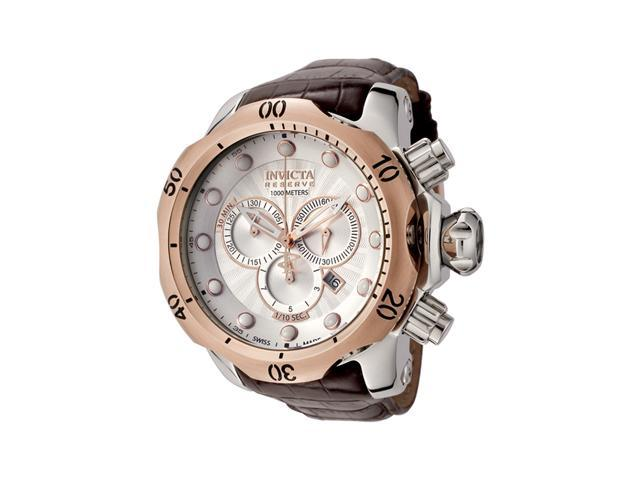 Men's Venom Reserve Chrono Brown Genuine Leather Silver-Tone Dial