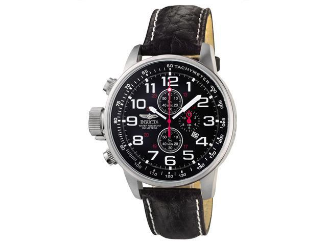 Invicta Terra Military Men's Black Dial Leather Chronograph Watch