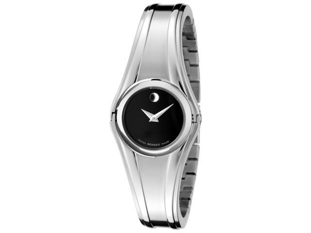 Movado Women's Swing Black Museum Dial Stainless Steel Bangle