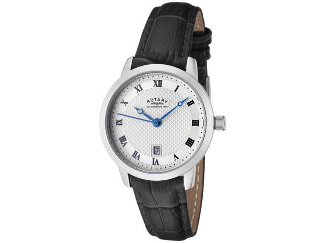 Rotary Women's Silver Textured Dial Black Leather