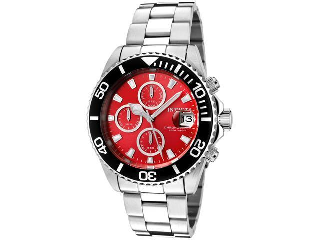 Invicta Pro Diver  1004 Men's Red Dial Stainless Steel Chronograph Watch