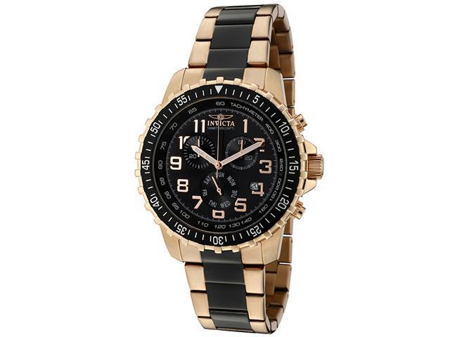 Men's Invicta II Chronograph Black Dial Two Tone