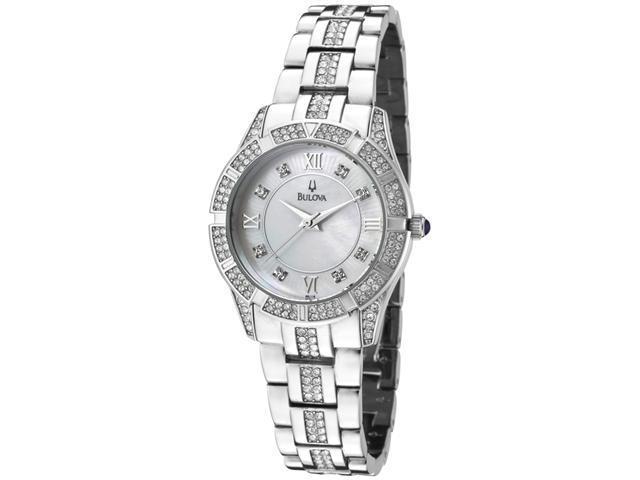 Bulova Ladies Swarovski Crystal Bracelet Mother of Pearl Dial Watch 96L116