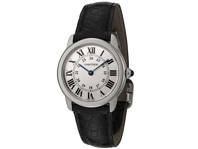 Cartier Ronde Solo Steel Black Leather Ladies Watch W6700155