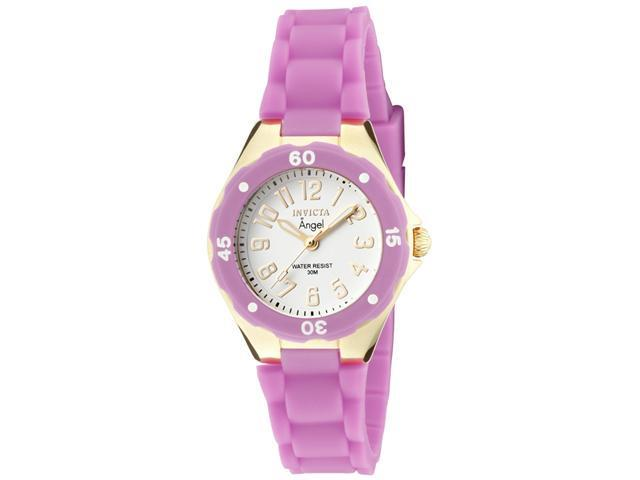 Invicta Women's Angel White Dial 18K Gold Plated Case Light Purple Rubber