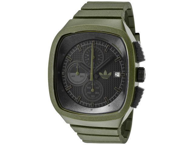 Adidas Men's Black Dial Chronograph Green Iridescent Rubber