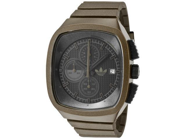 Adidas Chronograph Black Grid Textured Dial Shiny Brown Polyurethane