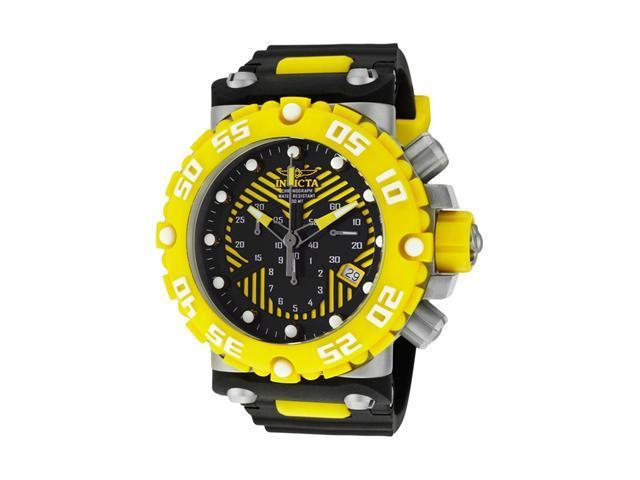 nvicta Men's Subaqua/Nitro Diver Chronograph Black/Yellow Dial Black Polyurethan