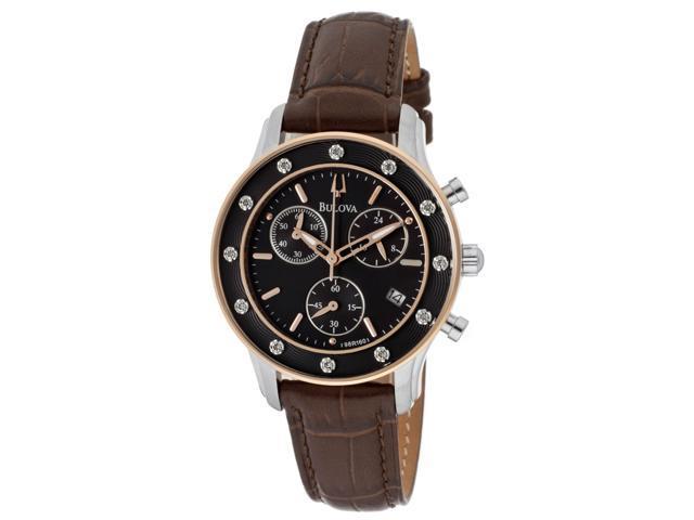 Women's Diamond Chronograph Brown Genuine Leather Black Dial