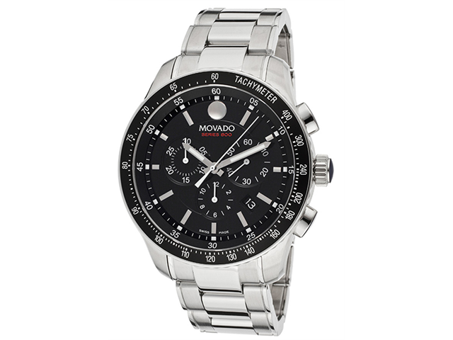 Movado 800 Black Dial Performance Steel Chronograph Mens Watch 2600094