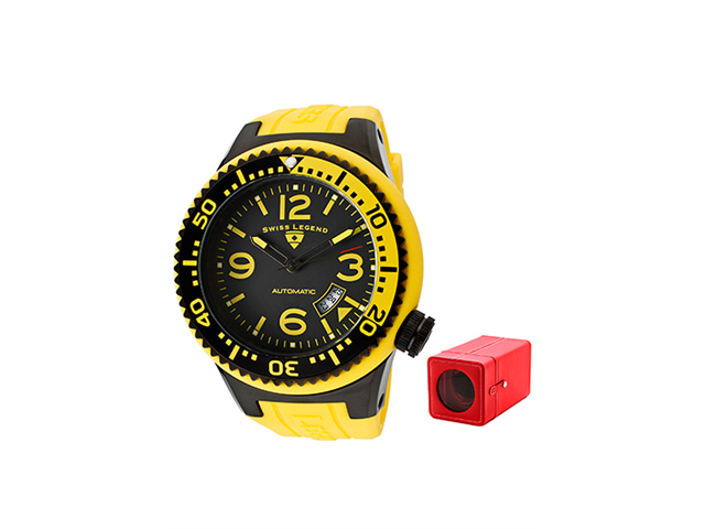 Swiss Legend 11819A-Bb-01-Ybl-W Neptune (52 Mm) Automatic Yellow Silicone Black Dial With Winder Watch
