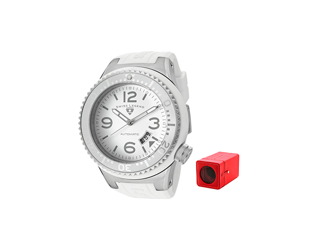 Neptune (52 mm) Automatic White Silicone White Dial and Silicone Case Cover