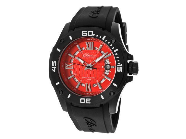 Elini Barokas 10196-Bb-05 Artisan Black Silicone Red Dial Black Ip Ss Watch