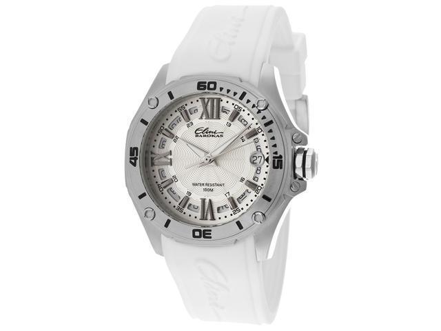 Elini Barokas 10197-02S-Wht Artisan White Silicone And Dial Ss Watch