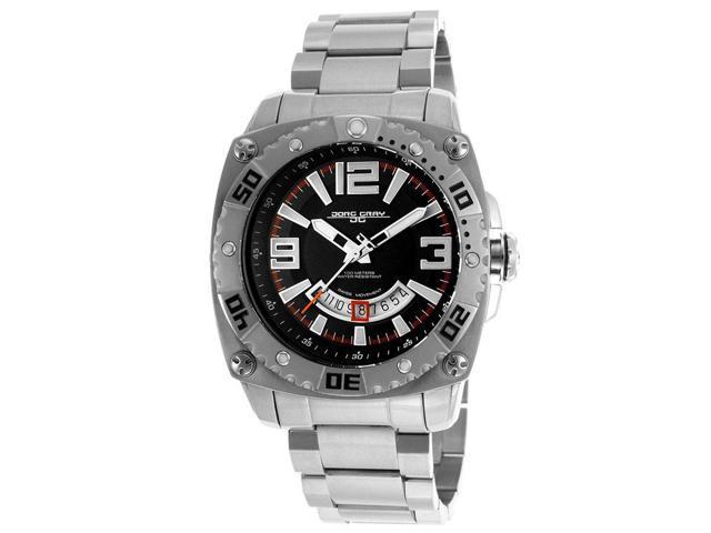 Jorg Gray Solid Stainless Steel Bracelet Black Dial Men's watch #JG9800-21