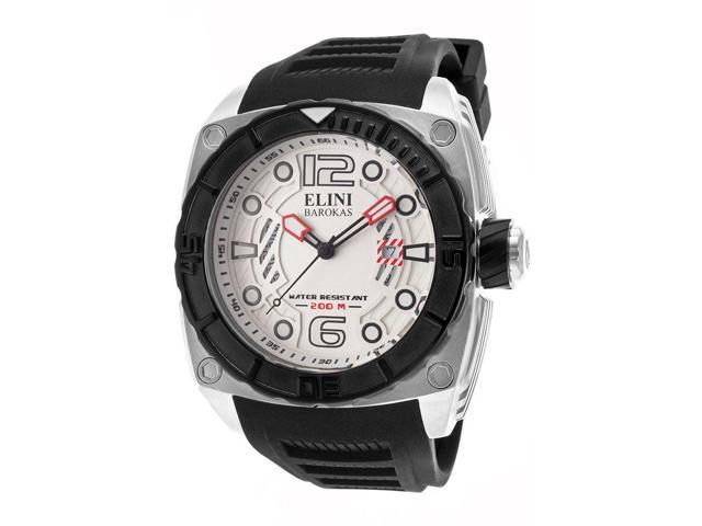 Elini Barokas 10014-02S-Bb Commander Black Silicone And White Dial Ss Watch