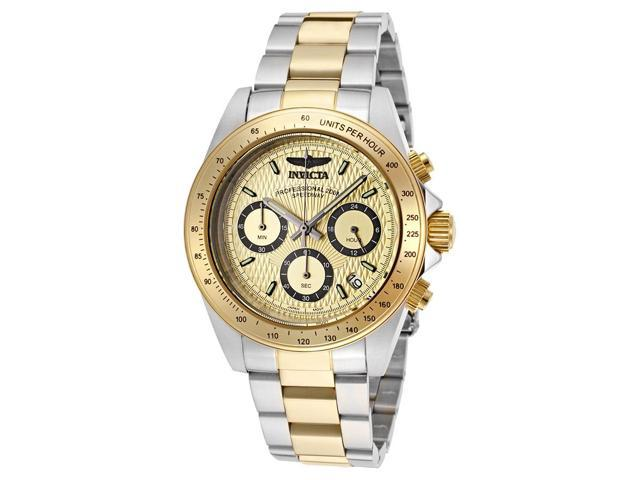 Invicta Men's Speedway Chronograph Gold Tone Textured Dial Stainless Steel & 18K