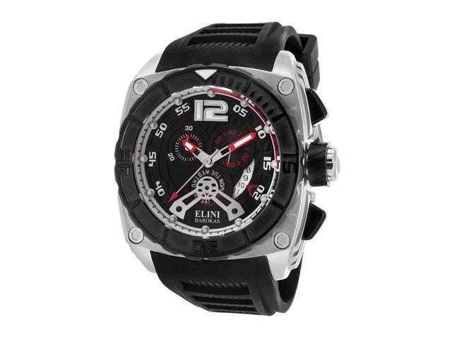 Elini Barokas 17012-01-Rda Commander Chronograph Black Silicone And Dial Red Accents Ss Watch