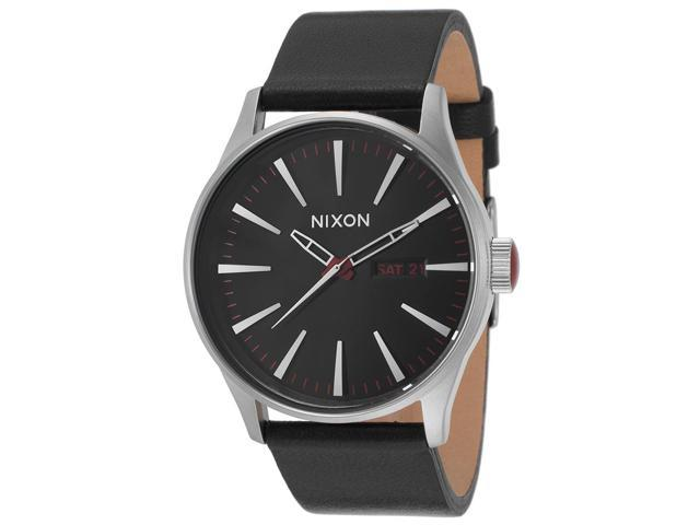 Nixon Sentry Black Dial Black Leather Strap Mens Watch A105000