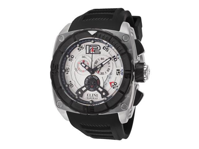 Elini Barokas 17012-02S Commander Chronograph Black Silicone Silver-Tone Dial Ss Watch