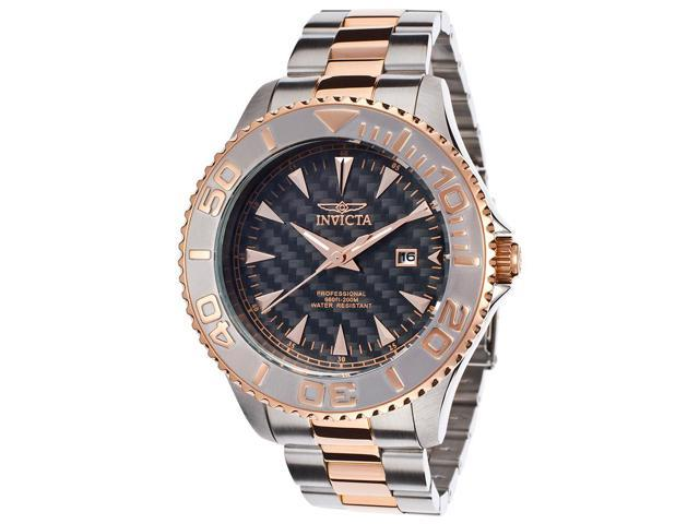 Invicta Men's Pro Diver Carbon Fiber Dial Stainless Steel and 18K Rose Gold Plated Stainless Steel
