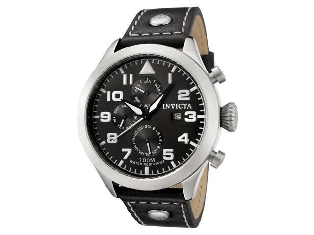 Men's I-Force Black Genuine Leather Contrast Stitch Black Dial