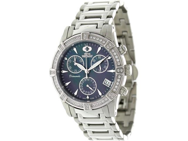 Swiss Precimax SP12079 Desire Elite Diamond Women's Mother-of-Pearl Dial Silver Ceramic Quartz Watch