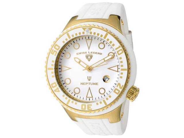 Neptune (48 mm) Gold-Tone Steel Case White Silicone White Dial