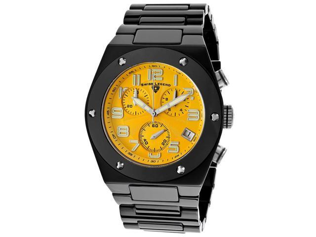 Swiss Legend 10028-Bkysa Throttle Chrono Black Ceramic Yellow Dial Watch