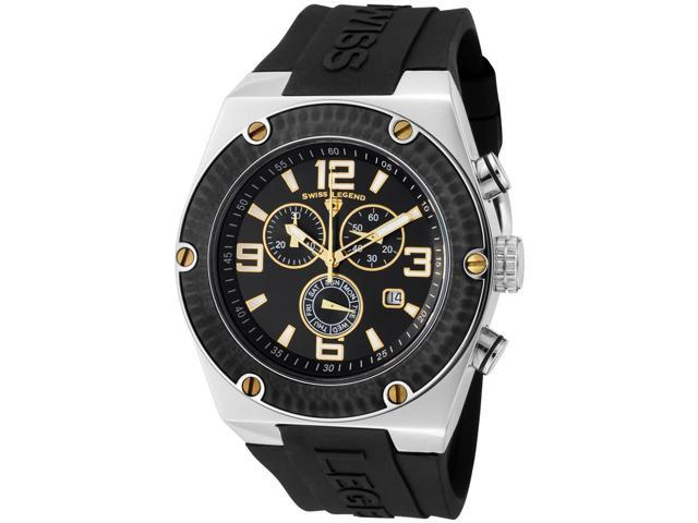 Swiss Legend 30025-01-Bb-Ga Throttle Chrono Black Silicone, Dial And Bezel Gold-Tone Accent Ss Watch