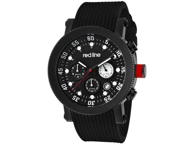 Red Line Compressor Multi-Function Men's Watch - Black Silicone & Dial White Accent
