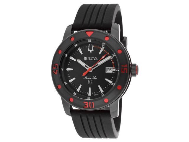 Bulova 98B164 Men's Marine Star Watch - Black Dial, Black Silicone