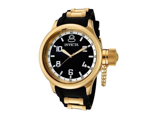 Invicta Men's Russian Diver Black Dial Black Polyurethane Watch