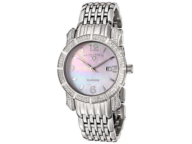 SWISS LEGEND Women's Marquise Diamond (1.02 ctw) White MOP Dial Stainless Steel