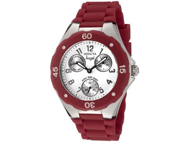 Women's Angel White Dial Red Silicone